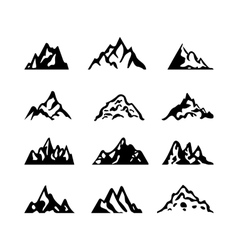 Mountain icon brush hand made stroke ink design vector