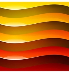 Abstract red orange and yellow shiny wave shapes vector