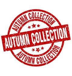Autumn collection round red grunge stamp vector