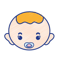 Baby boy head with pacifier and hairstyle vector