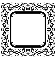 Black frame with ornamental border on white backgr vector