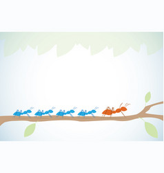 Brown ant lead blue ants on branch with leaves vector