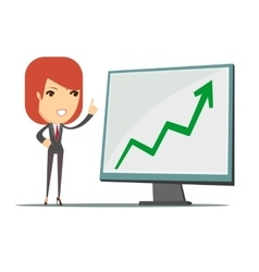 Business woman showing a chart business growth vector