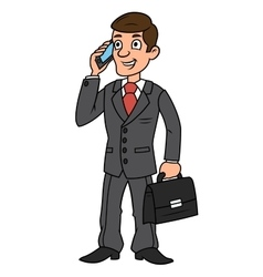 Businessman talking on phone vector