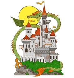 Castle and dragon cartoon vector