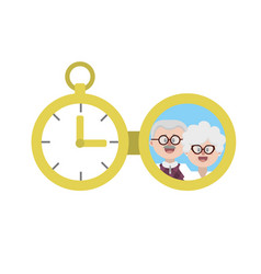 Clock of pocket with family picture vector