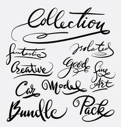collection and bundle hand written typography vector image vector image