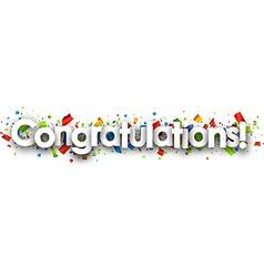 Congratulations paper banner vector image vector image