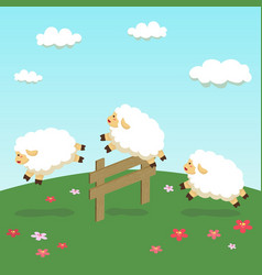 Counting sheep jump on field background vector