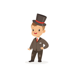 cute little boy wearing suit and black top hat vector image vector image