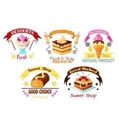 Dessert emblem set cake cupcake ice cream icons vector image vector image