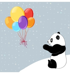 Dots background with colorful baloons and panda vector image