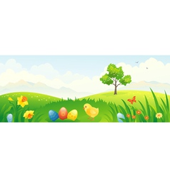 Easter chicken banner vector image vector image