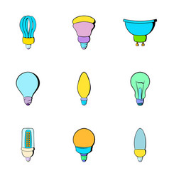 electricity icons set cartoon style vector image