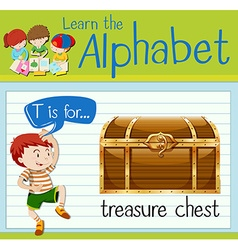 Flashcard letter T is for treasure chest vector image vector image