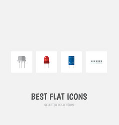 flat icon device set of memory resist transistor vector image vector image