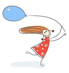 Girl running with blue balloon vector