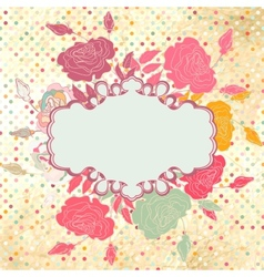 Greeting retro with frame and polka dots eps 8 vector