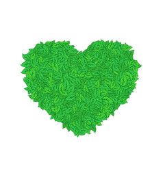 Heart of green leaves vector