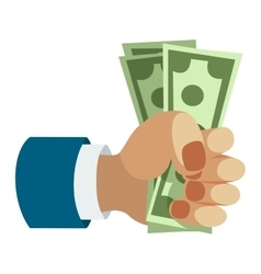Human hand holding dollar money vector image