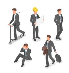 Isometric set of businessmen vector