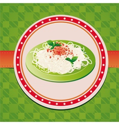 italian spaghetti on green plate vector image