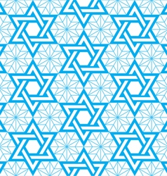 Jewish star of david blue seamless pattern vector