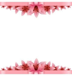 Lily flower banner with pink bow on a white vector