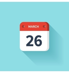 March 26 isometric calendar icon with shadow vector