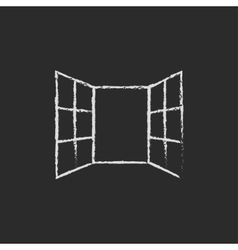 Open windows icon drawn in chalk vector image