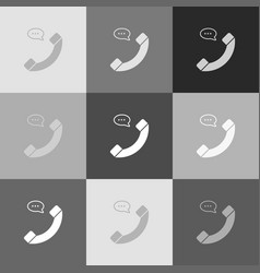 phone with speech bubble sign grayscale vector image vector image