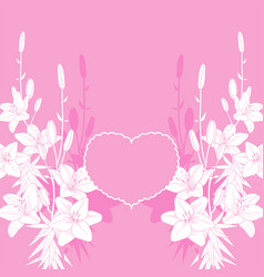 Pink lily love card background vector