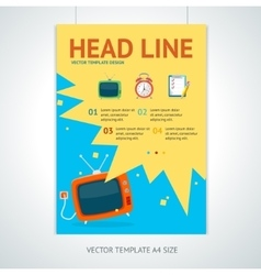 Retro television brochure flyer design vector