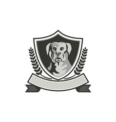 Rottweiler Head Laurel Leaves Crest Black and vector image vector image
