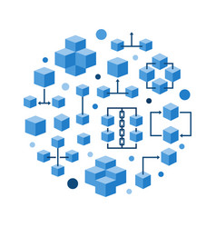 Round blockchain technology flat blue vector
