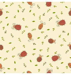 Seamless pattern with leaves and ladybirds vector image vector image