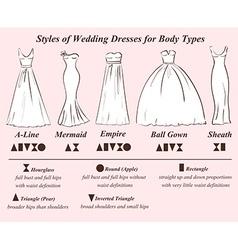 Set of wedding dress styles vector