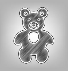 Teddy bear sign pencil vector