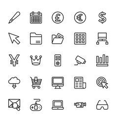 Web and mobile ui line icons 14 vector