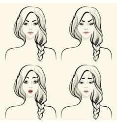 Woman facial emotions set vector image