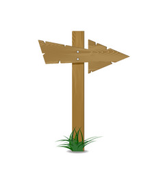 wood arrow with green grass vector image