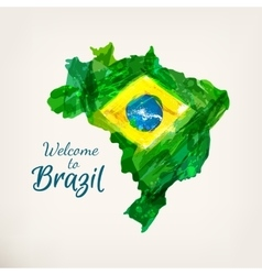Watercolor hand drawn brazilian map welcome to vector
