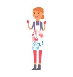 Artist girl with art brush isolated on white vector