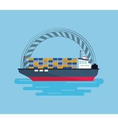 Ship or boat emblem image vector