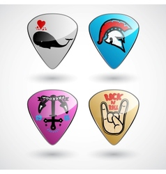 Guitar picks or plectrums with custom designs vector