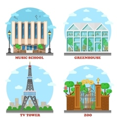 Tv station and music school zoo greenhouse vector