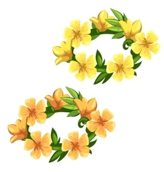 Floral wreath of bright yellow flowers vector