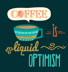 Retro background with coffee quote and golden vector