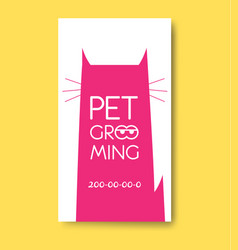 Pet grooming label with cat silhouette pet care vector