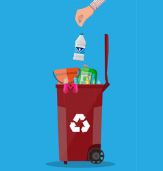 Trash recycle bin container full of plastic things vector